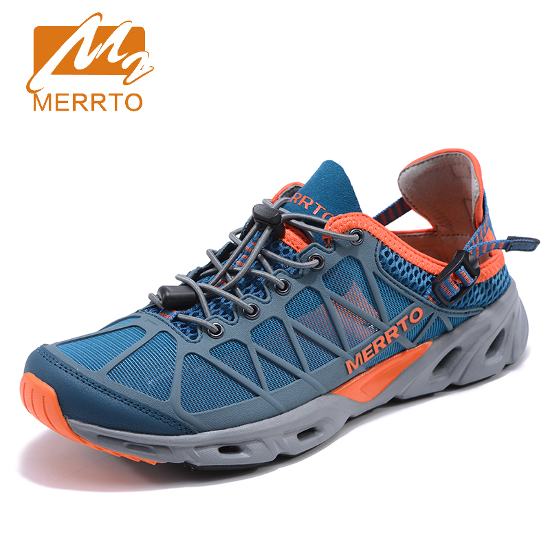 2018 Merrto Summer Mens Aqua Shoes Outdoor Water Shoes Beach Shoes Light Weight Sandals For Men Blue Black Free Shipping MT18673