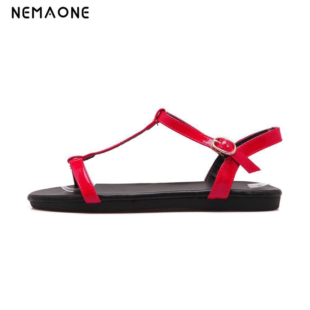 NEMAONE 2016 Women Sandals Ankle-Strap Shoes Women Flat Sandals Narrow Band Summer Shoes Beaded Girl Flip Flops Big size 34-40