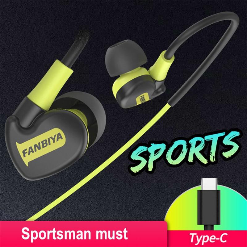 USB Type C Earphone Stereo Hi-Fi Ear Hook Sports Headphone Type-C Headset Earpieces with Micphone for Letv Xiaomi Oneplus Nokia