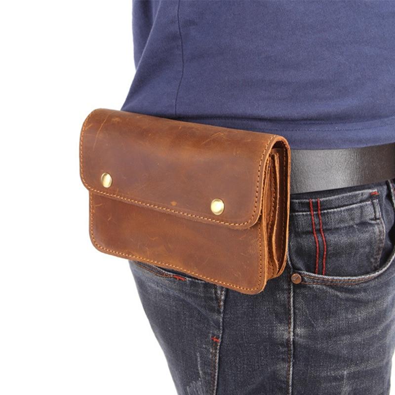 BISI GORO cow leather phone coin waist bag fashion Wear belt pocket Multi-function heuptas heren outdoor Wear-resistant pack