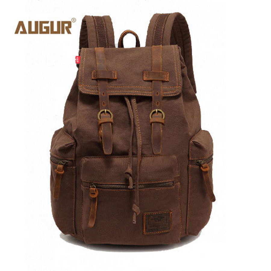 AUGUR New fashion men's backpack vintage canvas backpack school bag men's travel bags large capacity travel backpack bag augur to 15laptop canvas school bags for teenage boys college student computer book bag stylish large capacity travel men bag