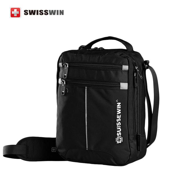 Suissewin fashion messenger men bag business shoulder bag 11 inch black handy crossbody bag business casual bags oxford satchel