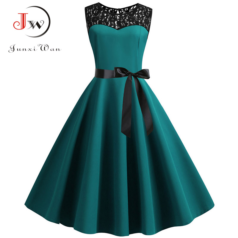 Blue Lace Patchwork Summer Dress Women 2019 Elegant Vintage Party Dress Casual Office Ladies Work Dress Plus Size 1