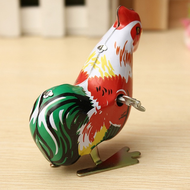 Vintage Clockwork Funny Wind Up Cock Rooster Tin Toys Perfect Collectable Gift Kids Favors Classic Toys For Children