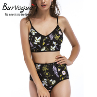 Burvogue Sexy Bikini Set New Floral High Waist Bikini Women Printed Swimwear Swimsuit Summer Monokini Swimwear