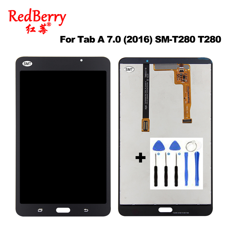 New T280 Touch Screen Sensor Glass Digitizer + LCD Display Panel Module Assembly For Samsung Galaxy Tab A 7.0 (2016) SM-T280 s6c2742 81 new tab cof module