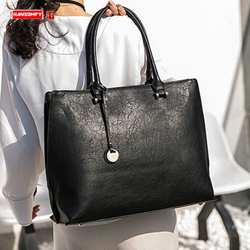 New Women Handbag 14 Inch Laptop Briefcase Shoulder Slung Bag Female Document File Tote Bag Business Leather Crossbody Bags