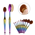 Professional New 10pcs Mermaid Makeup Brushes Set Toothbrush Oval Shape Makeup Brush Tool Kits Synthetic Hair Fiber Accessories
