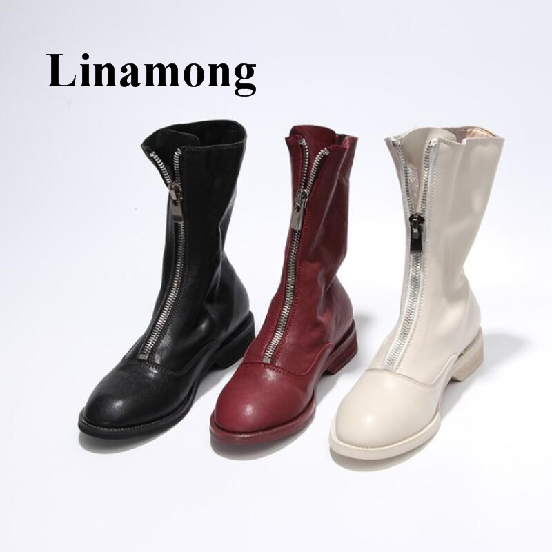 Black White Red Rine Three Color Flat Round Toe Genuine Leather Pretest Zipper Fashion High Quality Women Ankle BootsBlack White Red Rine Three Color Flat Round Toe Genuine Leather Pretest Zipper Fashion High Quality Women Ankle Boots