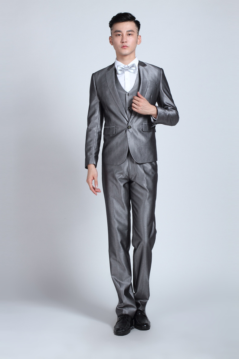 Wedding Costume Homme Marriage Celebrants Shiny Silver Suit For ...