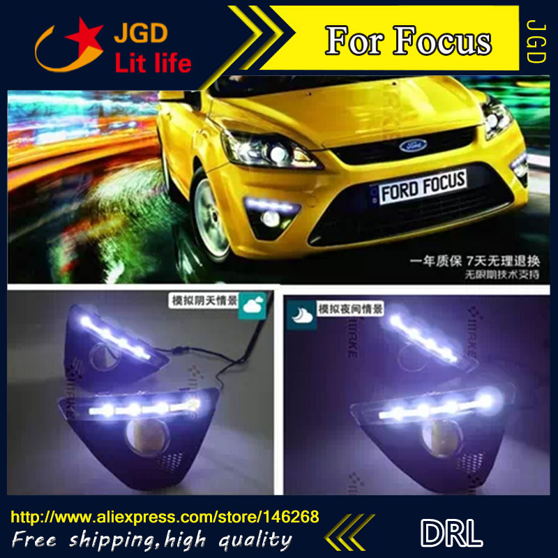 Free shipping ! 12V 6000k LED DRL Daytime running light for Ford Focus 2009-2011 fog lamp frame Fog light 2009 2011 year golf 6 led daytime running light