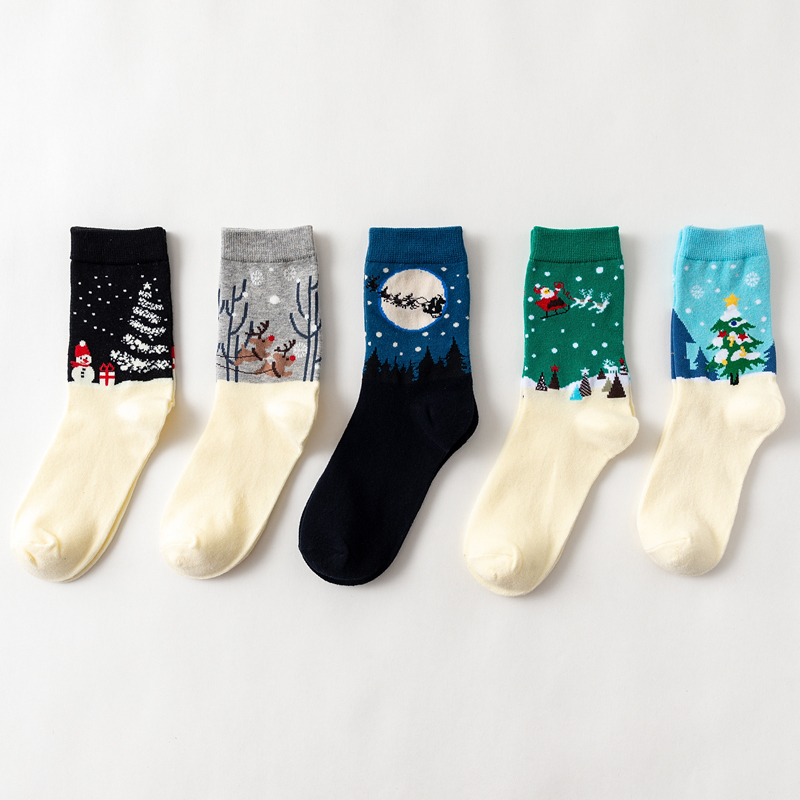Lady's Casual Socks Cotton Women's Sock Santa Claus Garments Cartoon Snowman Breathable Christmas Sock Holiday Gift Crew Sock