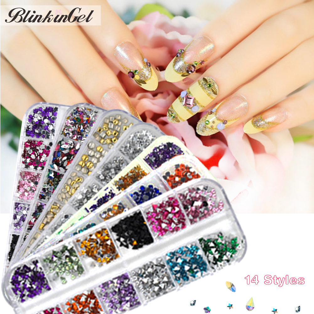 BlinkinGel Strass Klinknagel Nail Art Mix Crystal Pixie Diamanten voor Nagels Leveranties van Nailart Decoratie Goud Metalen Nagel Accessoires