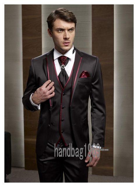 acb8315b298 Custom Made Two Button Brown Groom Tuxedos Groomsmen Men s Wedding Prom  Suits (Jacket+Pants+Vest+Tie) K 518