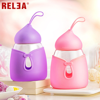 RELEA Cute Design Glass Drinking Bottle For Girls High Clear With Insulated Silicone Cover 350ml