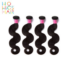 WoWigs Hair Malaysian Body Wave 100% Human Hair Weaving 4 PCS Remy Hair Free Shipping Natural Color(China)