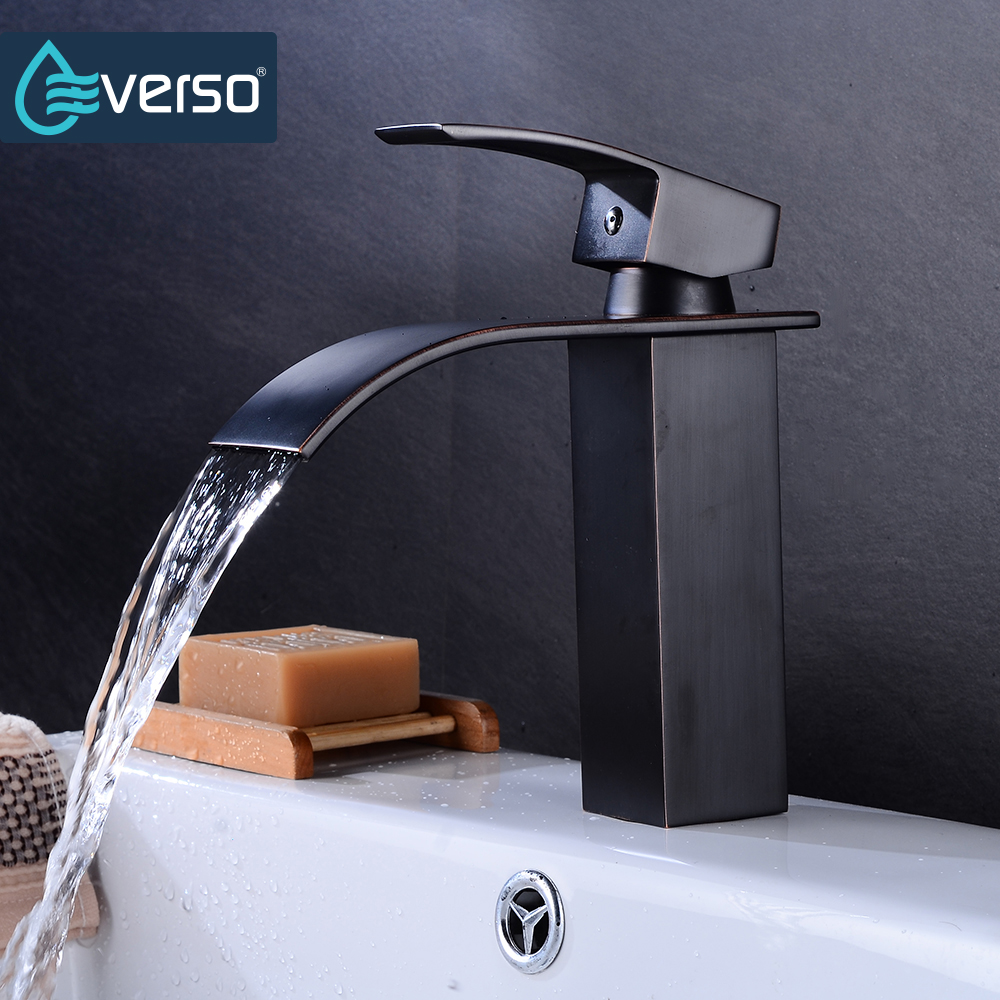 Everso Черный кран Одной ручкой Водопад бассейне смесителя горячей и холодной Ванная комната кран водопада раковины кран