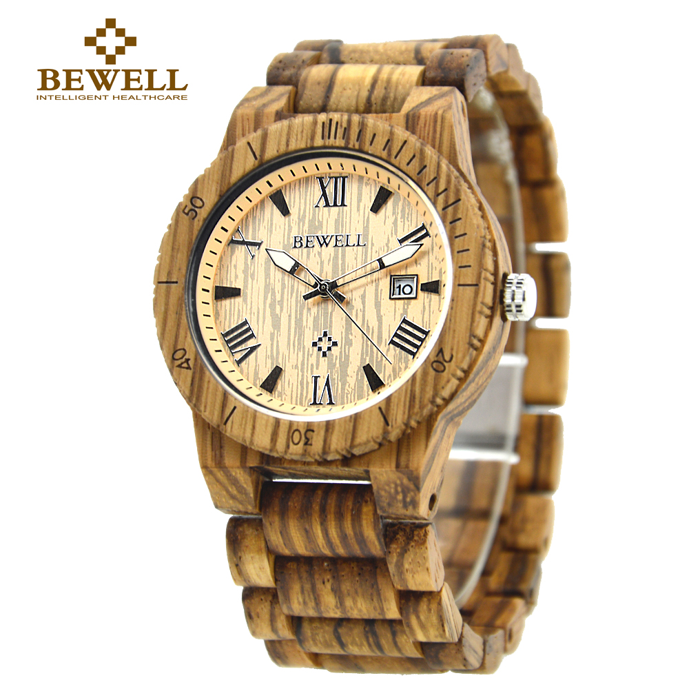 BEWELL Fashion Quartz Watch Men Waterproof Casual Wood Analog Retro Watch Natural Zebra Wooden Wristwatch Auto Date Box 109B natural handmade brand waterproof bewell maple wood watch with wooden case