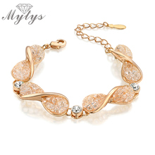 Mytys New Twisted Mesh Bracelet Rose GP Fashion Women Jewelry Crystal Bracelet B986