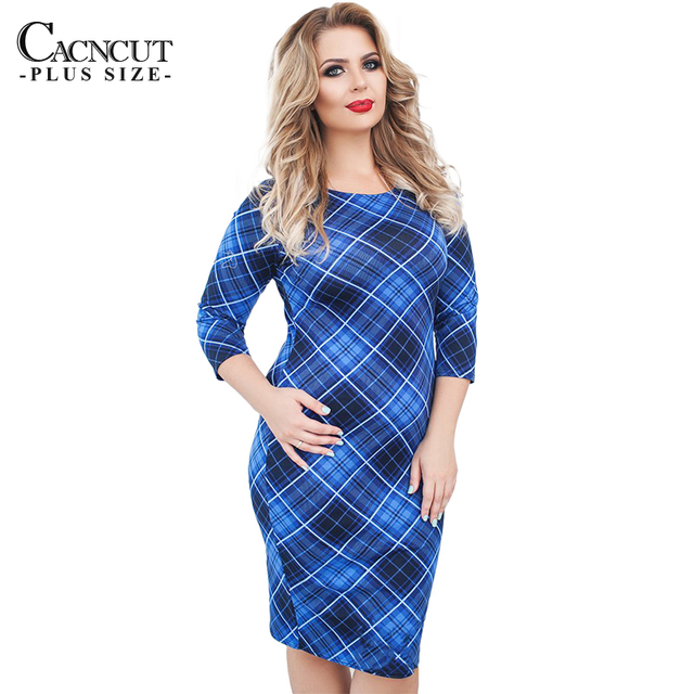 US $24.98 |5XL 6XL Plus Size Women Dress Plaid Print Big Size Dresses  Ladies Office Work Dress Elegant Large Size Spring Summer Dress Blue-in  Dresses ...