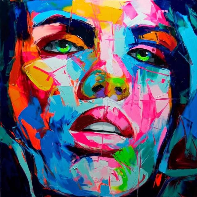 Très Visage abstrait Peinture Nielly Francoise Huile Mur Œuvres D'art  KB78
