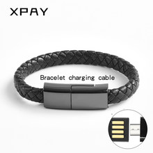 Hot Real Leather Micro USB Bracelet Charger Data Charging Cable Sync Cord For iPhone 6 6s 7Plus Android Type-C XPAY Phone Cable(China)
