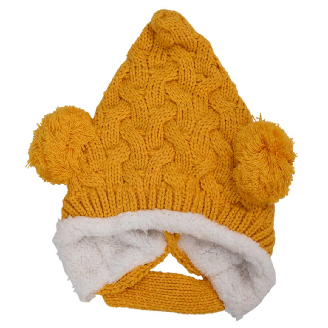 เก็บหูอบอุ่น! เด็ก Bonbon ชี้ถักหมวกถักหมวกเด็กผู้หญิงเด็กทารกเด็กถักหมวกฤดูหนาว