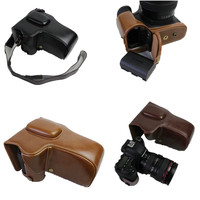 PU Leather Camera Case For Canon EOS 6D Mark II 6D II Camera Bag Cover With Battery Opening + strap
