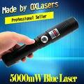 OXLasers самый Мощный Сжигание Лазерный Факел OX-BX9 445nm 5000 МВт 5 WFocusable синий лазерный указатель ожога бумаги бесплатная доставка