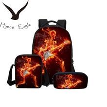 Hynes Eagle 3 Pcs/set School Bags Fire Skull 3D Printing Bag Chirldren Bookbag Combination Package Boys Mochila Shoulder Bag