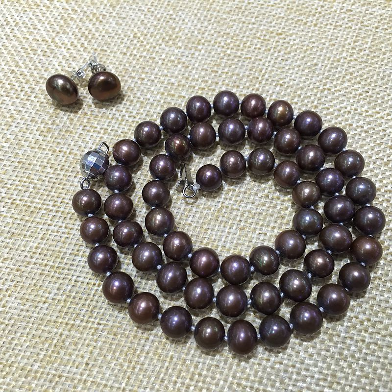 AAA quality fine jewelry necklace earring set brown color perfectly round 100% natural Cultured freshwater pearls Classic
