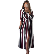 Turn-Down Collar Button Lace Long Shirt Dress Women Long Sleeve Stripe Maxi Office Lady Dresses Vestido giyu summer women shirt dress casual striped printing dresses turn down collar vestido long sleeve basic robe femme