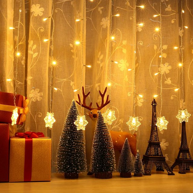 outdoor curtain fairy string christmas lights holiday lighting 2m06m 60led snowflake home decora