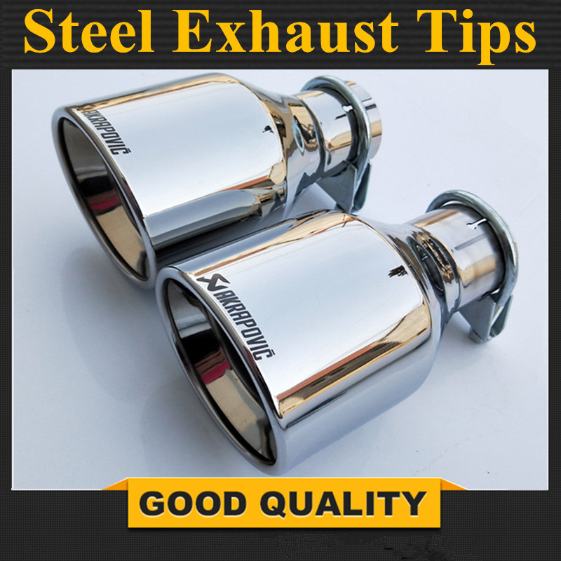 Free Shipping: 1Pcs Inlet 57mm Outlet 102mm Stainless car Car Exhaust Tip tailpipe car-styling exhaust car muffler tip Akrapovic free shipping 1pcs dual akrapovic stainless steel exhaust tip exhaust pipe tail quad ak exhaust muffler tip