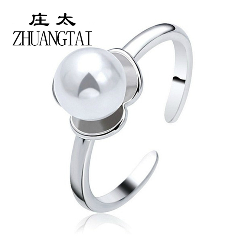 ZHUANGTAI Women Rings New Fashion Silver Plated Open Imitation Pearl Lovely Princess High Quality Jewelry 3 Colors Panic buying