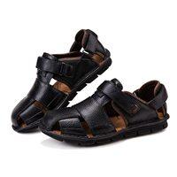 ABDB Genuine Leather Summer Shoes Men Sandals Fashion Casual Shoes Male Sandalias Beach Shoes Soft Bottom Breathable Men Slipp