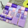 DIY ribbon set----pink & purple color mix ribbon set(total 28 yard)