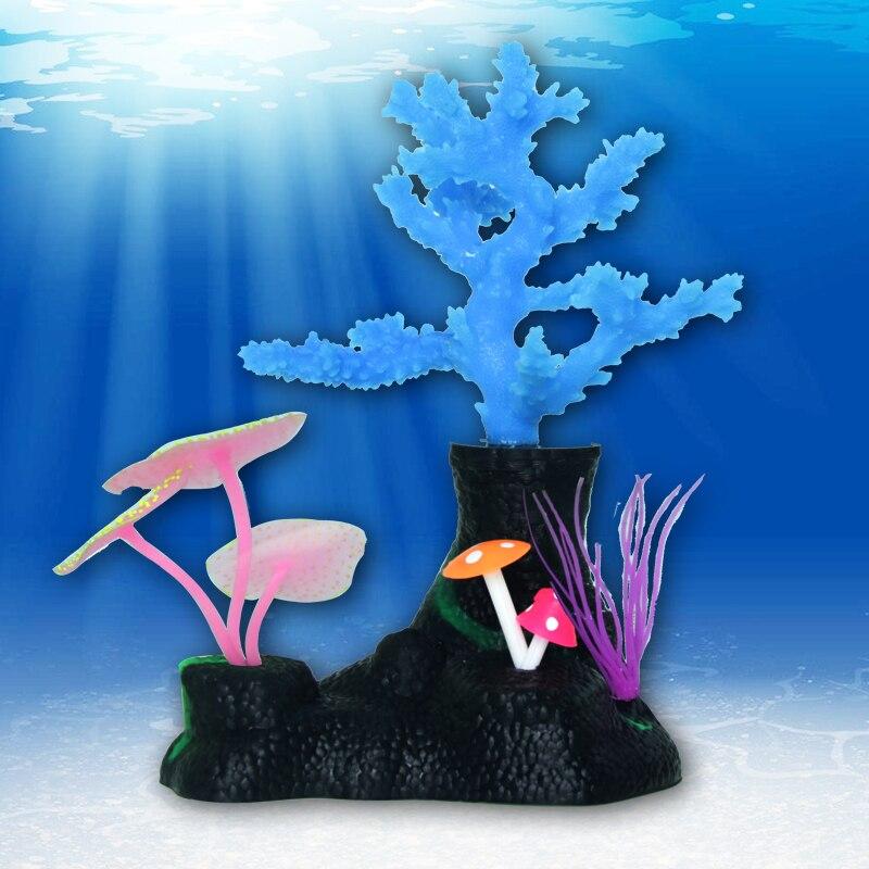 Silicagel Coral Aquarium Umělé korálových rostlin s Sucker Ornament Vodní krajina Decor Ryby Tank Akvárium příslušenství