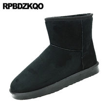 booties fur black men slip on casual shoes snowboot australian boots suede flat embellished snow short plus size cheap winter(China)
