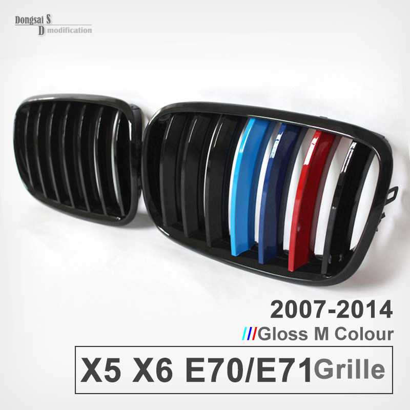 X5 E70 M Color Front Bumper Grille ABS Grill Mesh For BMW X6 E71 replacement bumper grill kidney grille front grid for bmw x5 e70 x6 e71 2007 2014 abs material replacement grid front hood