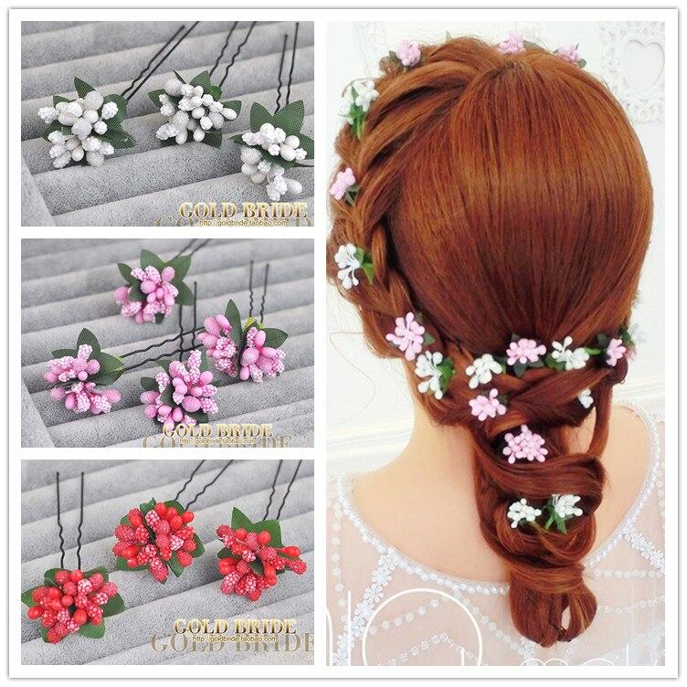 3 UNIDS/SET Mujeres Pelo de La Flor Pin cheveux bijoux Hecho A Mano palillo del