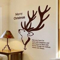 Citação Decalque Da Parede Do natal Feliz Natal Cervos Animal Mural Adesivos de Parede Da Parede Da Sala Decoração Da Porta de Vidro Vitrine Decoração 677 M