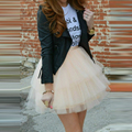 Ivory Puffy Tiered Tulle Skirt Ribbon Zipper Waistline A Line Above Knee Short Skirt Custom Made Fashion Casual Adults Skirts