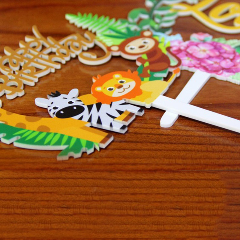 1pcs Jungle Birthday Party Cake Topper Kids Favors Jungle Party Cake Decoration Baby Shower Cute Lion Animal Cake Topper Decor in Party DIY Decorations from Home Garden