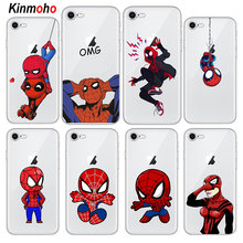 160f66951fe Funda de teléfono de silicona suave transparente Spider Man para iPhone 7 6  s 6 8 Plus 5S SE 5 Deadpool casos para iPhone X XR X..