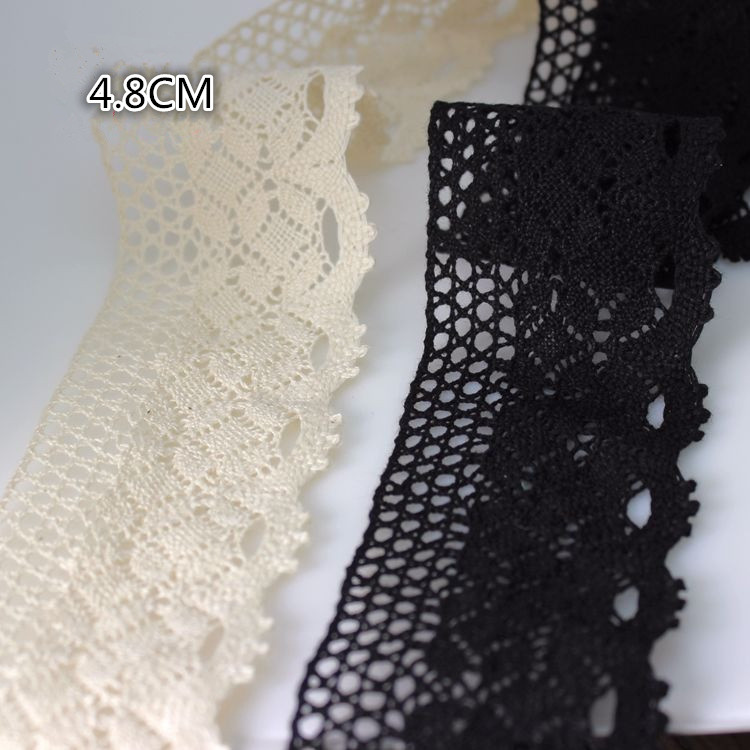 Curtain Black Cotton Lace Trim Crochet Lace Craft Sewing Lace Diy Dress Humorous 4.8cm Width Vintage Style Natural tablecloth Exquisite Traditional Embroidery Art