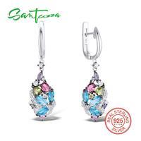 925 Sterling Silver Multi Stones Colorful Russian Lock Earrings