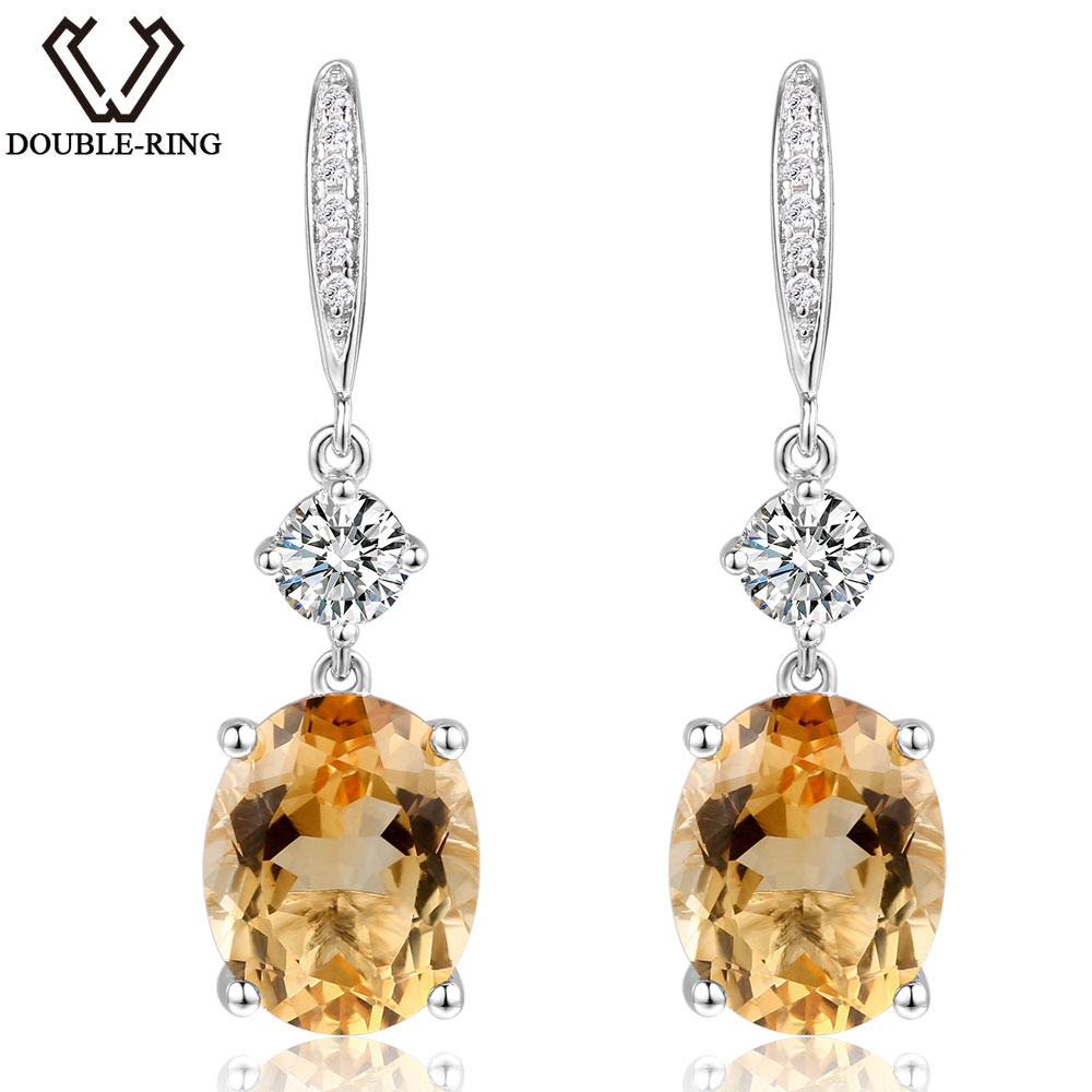 Double-R Natural Citrine Earrings 5.00 Ct Genuine Vintage Gemstone Earring For Women Silver 925 Drop Earrings Wedding