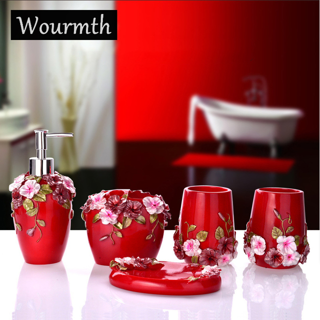 Wourmth ExquisiteScalpture Soap Holder Dishes Toothbrush Cup Liquid Soap Dispenser Bathroom Accessories Set Craft Gift