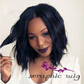 Fashion Weave Black Wig Sexy Hairstyle Synthetic Bob Lace Front Wig for Black Women Heat Friendly Glueless Natural Black Bob Wig